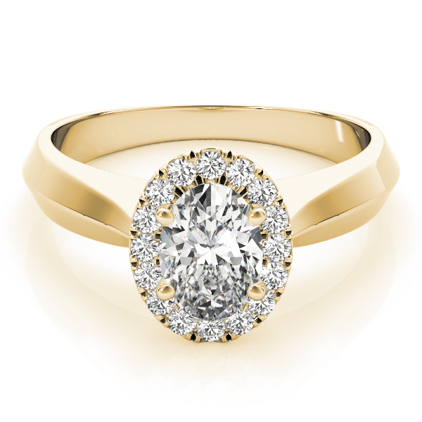 Solitaire Diamond Oval Halo Engagement Ring Yellow Gold