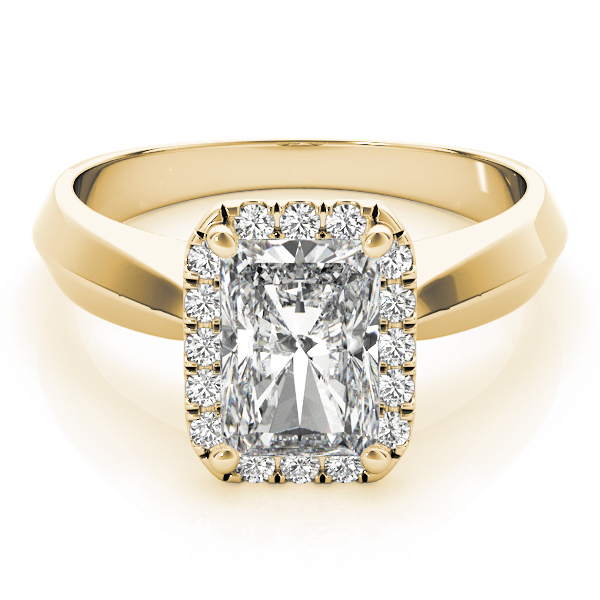 Solitaire Diamond Radiant Halo Engagement Ring Yellow Gold
