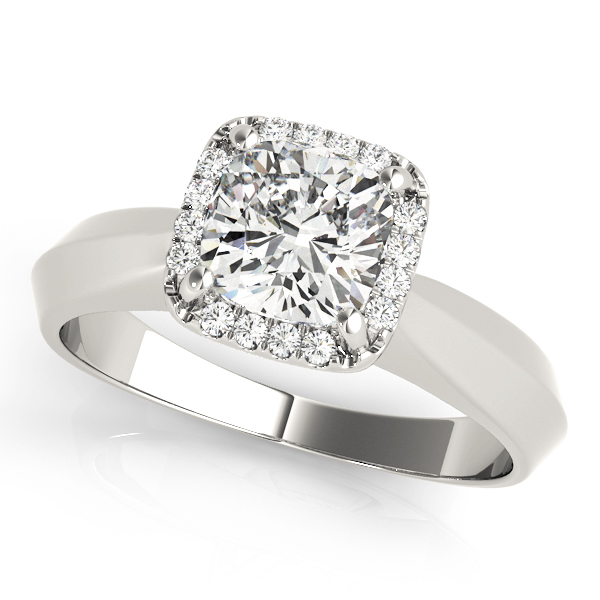 Solitaire Diamond Cushion Halo Engagement Ring