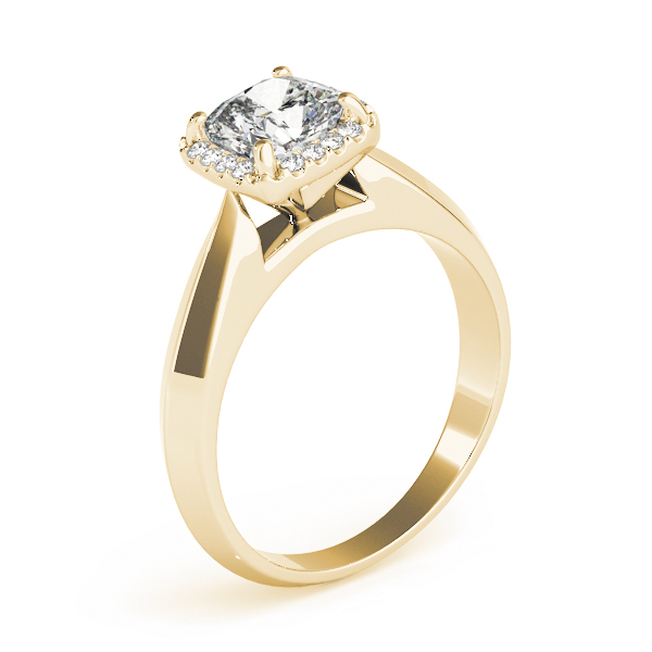 Solitaire Diamond Cushion Halo Engagement Ring Yellow Gold