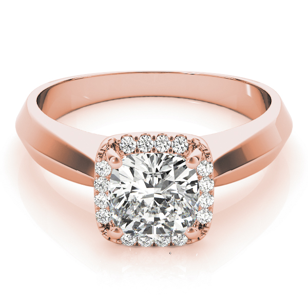 Solitaire Diamond Cushion Halo Engagement Ring in Rose Gold