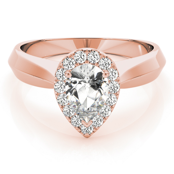 Solitaire Diamond Pear Halo Engagement Ring in Rose Gold