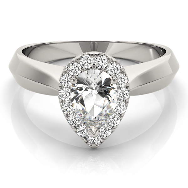 Solitaire Diamond Pear Halo Engagement Ring