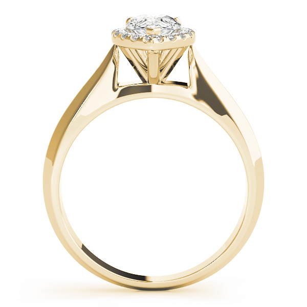 Solitaire Diamond Pear Halo Engagement Ring Yellow Gold