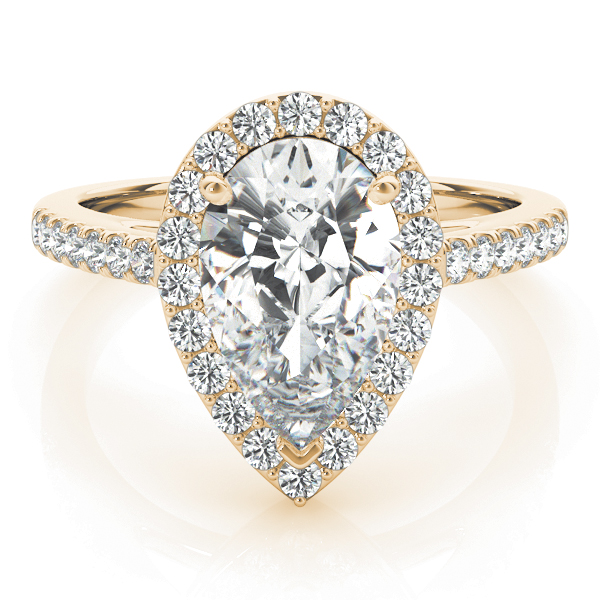 Pear Shape Diamond Halo Cathedral Engagement Ring Yellow Gold
