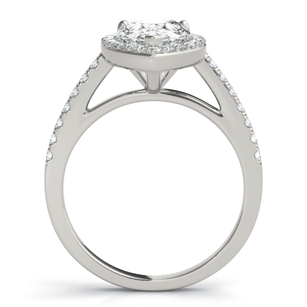 Pear Shape Diamond Halo Cathedral Engagement Ring