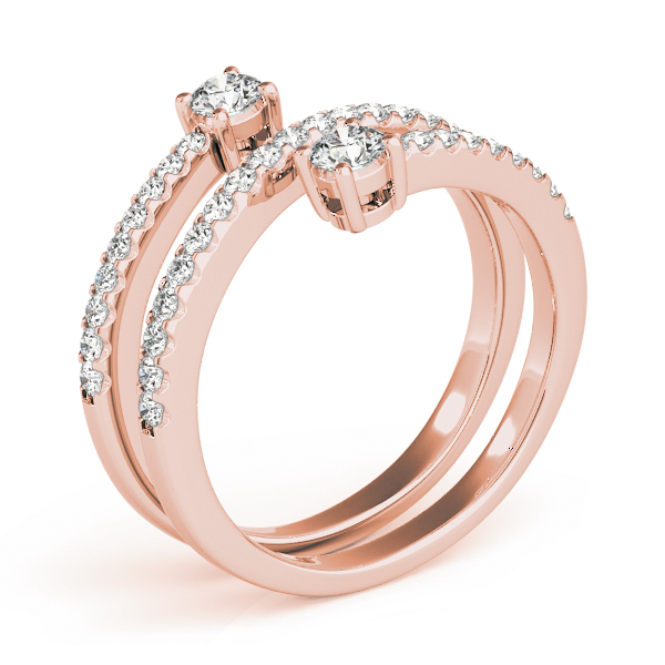 Spiral Duo Diamond Ring in Rose Gold