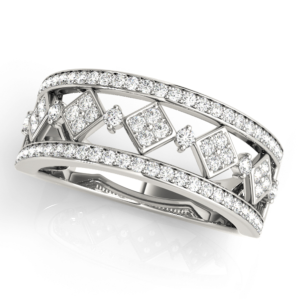 Wide Split Band Pave Set Diamond Band