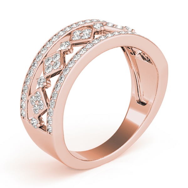Wide Split Band Pave Set Diamond Band in Rose Gold