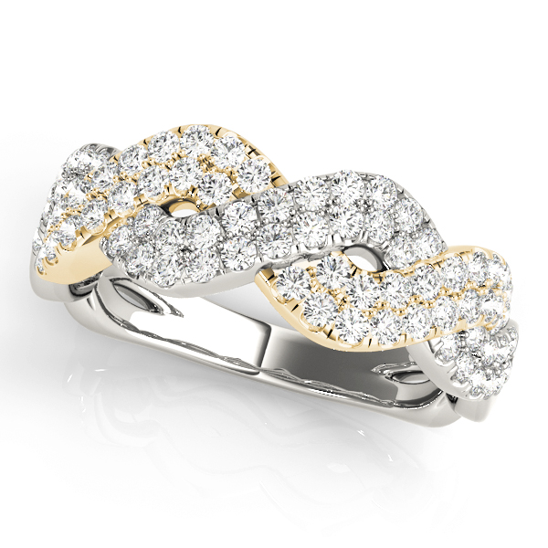 Multi-Row Infinity Wide Diamond Band in Two Tone