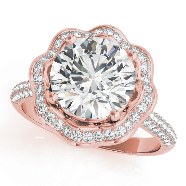 Etoil Royal Halo Engagement Ring Engagement Ring Rose Gold