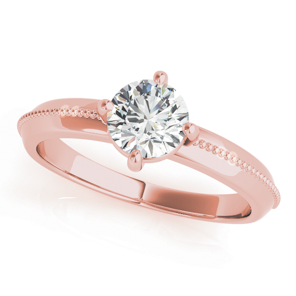 Low Profile Knife Edge Solitaire Engagement Ring in Rose Gold