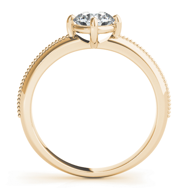 Low Profile Knife Edge Solitaire Engagement Ring Yellow Gold