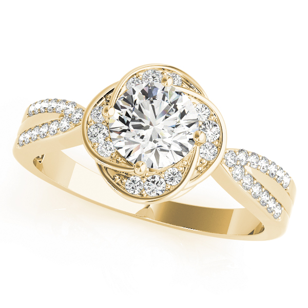 Floral Halo Diamond Ring Yellow Gold