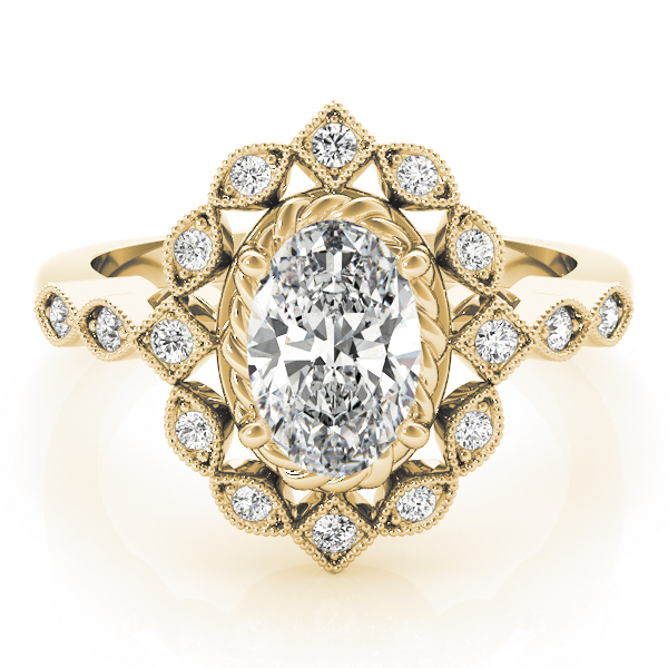Oval Swing Halo Diamond Engagement Ring Yellow Gold
