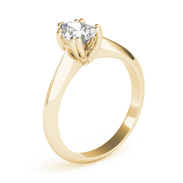 Pear Shaped 	Solitaire Petite Knife Edge Engagement Ring Yellow Gold