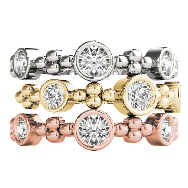 Bezel Diamond Stackable Rings Set