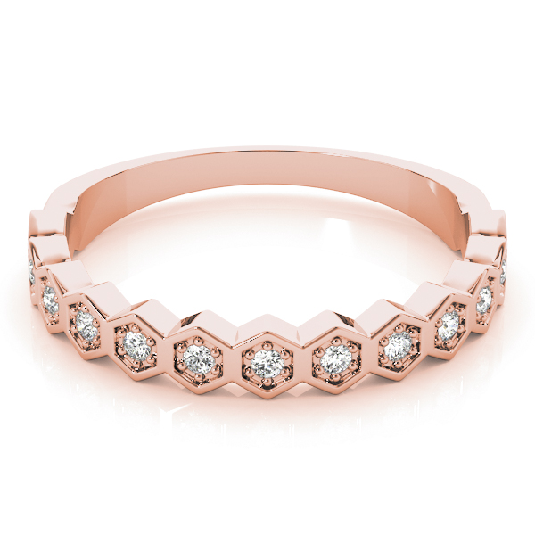 Honeycomb  Diamond Rose Gold Stackable Ring