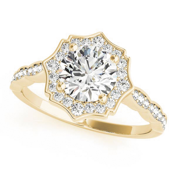 Scalloped Diamond Halo Engagement Ring Yellow Gold
