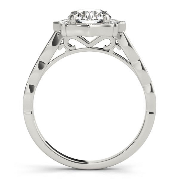 Scalloped Diamond Halo Engagement Ring