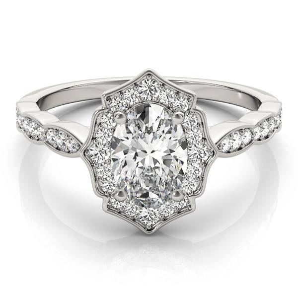Scalloped Oval Diamond Halo Engagement Ring