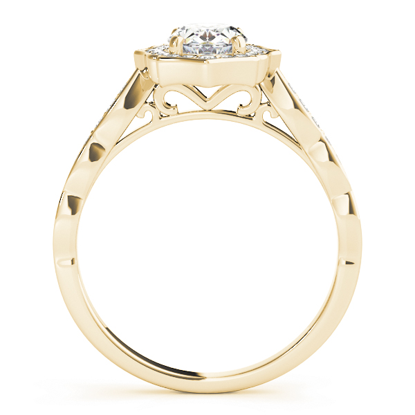 Scalloped Oval Diamond Halo Engagement Ring Yellow Gold