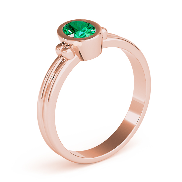 Oval Green Emerald Bezel Rose Gold Ring