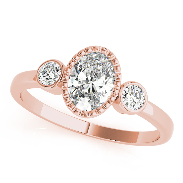 Three Stone Oval Bezel Ring Rose Gold