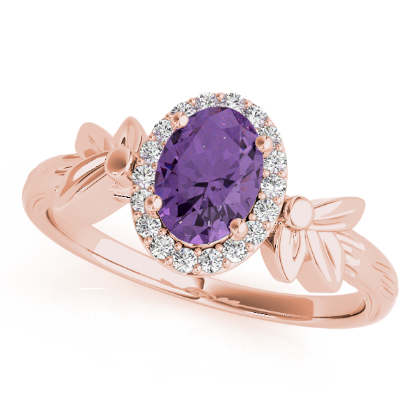 Oval Amethyst Floral Halo Ring Rose Gold