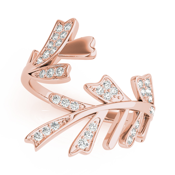 Diamond Mayfly Leaf Ring Rose Gold