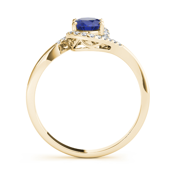 Oval Sapphire Swirl Halo Ring Yellow Gold