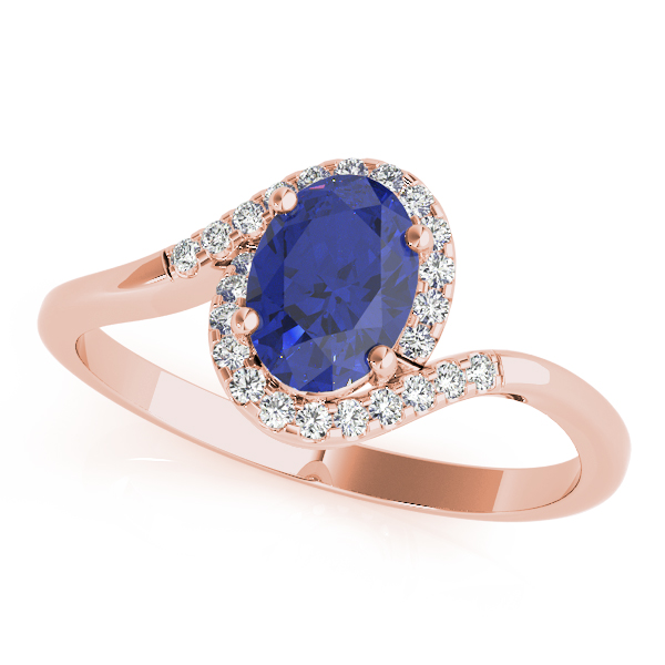 Oval Sapphire Swirl Halo Ring Rose Gold