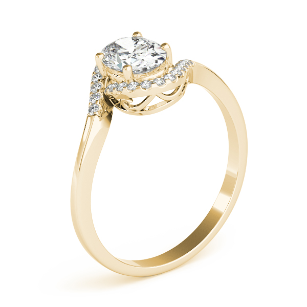 Oval Swirl Halo Filigree Ring Yellow Gold
