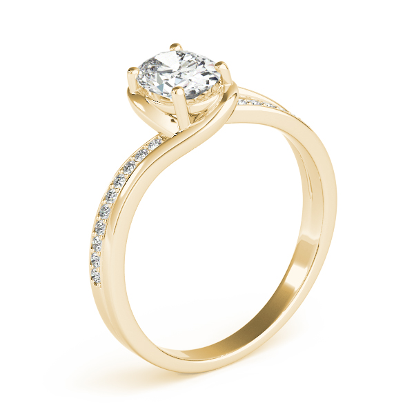 Oval Swirl Bridge Engagement Ring Yellow Gold
