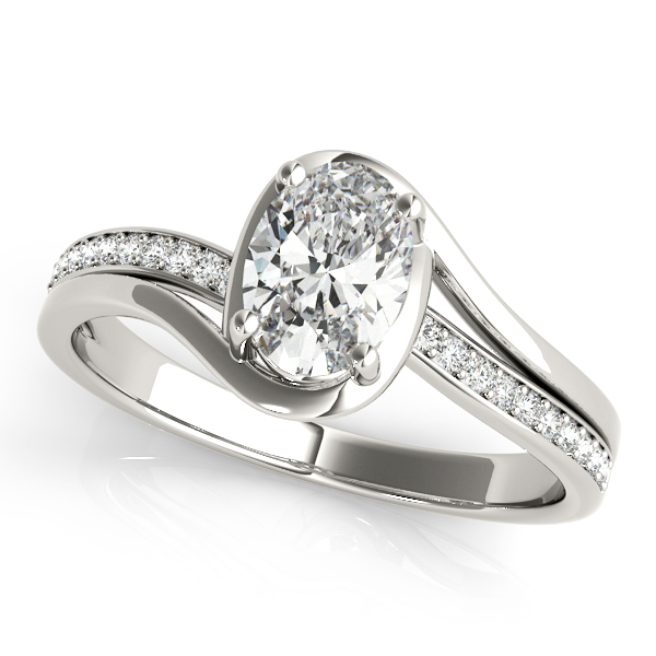 Oval Swirl Bridge Diamond Engagement Ring