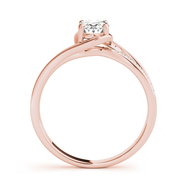 Oval Swirl Bridge Engagement Ring Rose Gold