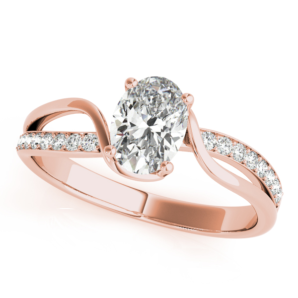 Oval Swirl Diamond Engagement Ring Rose Gold