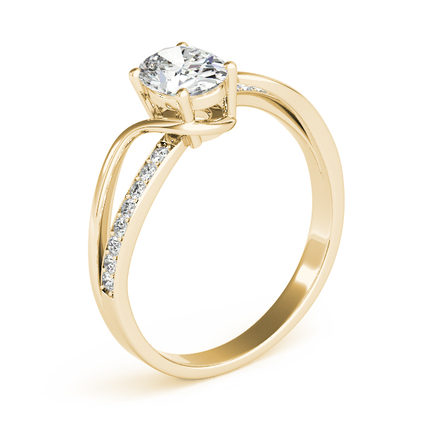 Oval Swirl Diamond Engagement Ring Yellow Gold