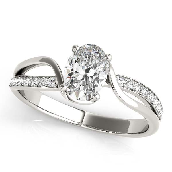 Oval Swirl Diamond Engagement Ring