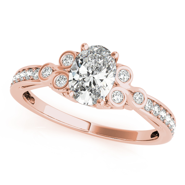 Oval Trinity Diamond Engagement Ring Rose Gold