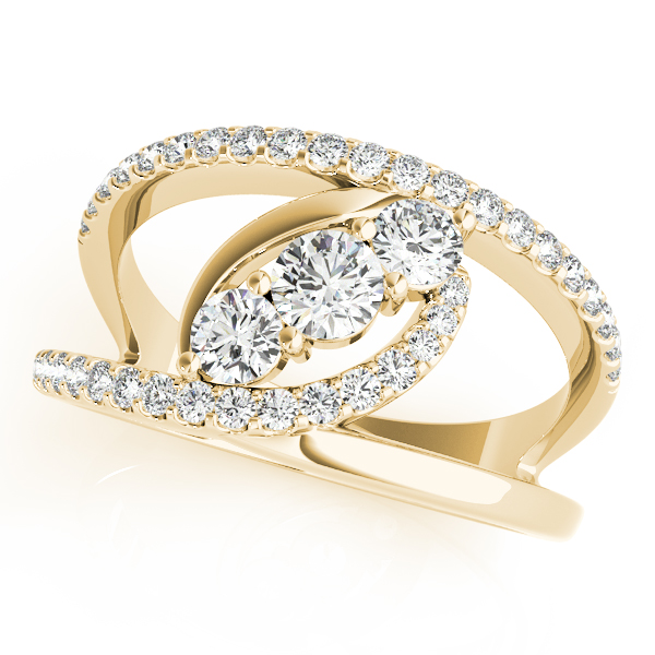 3 Stone Split Band Diamond Ring Yellow Gold