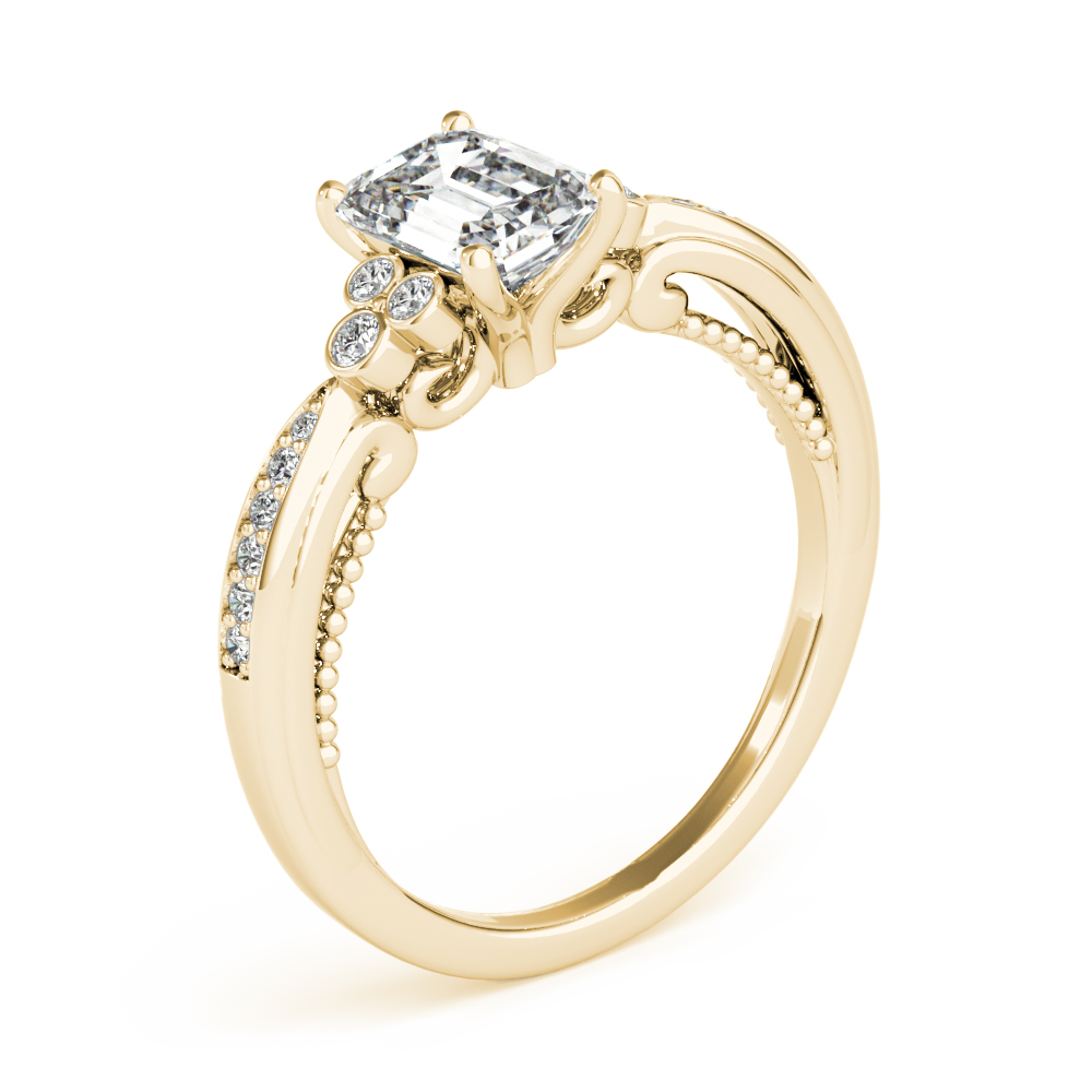 Emerald Cut Filigree Trinity Engagement Ring Yellow Gold