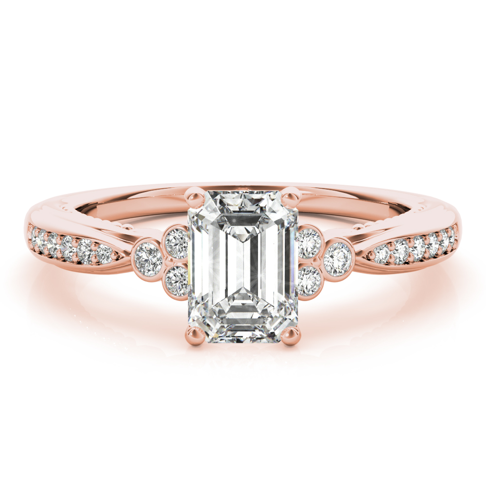 Emerald Cut Filigree Trinity Engagement Ring Rose Gold