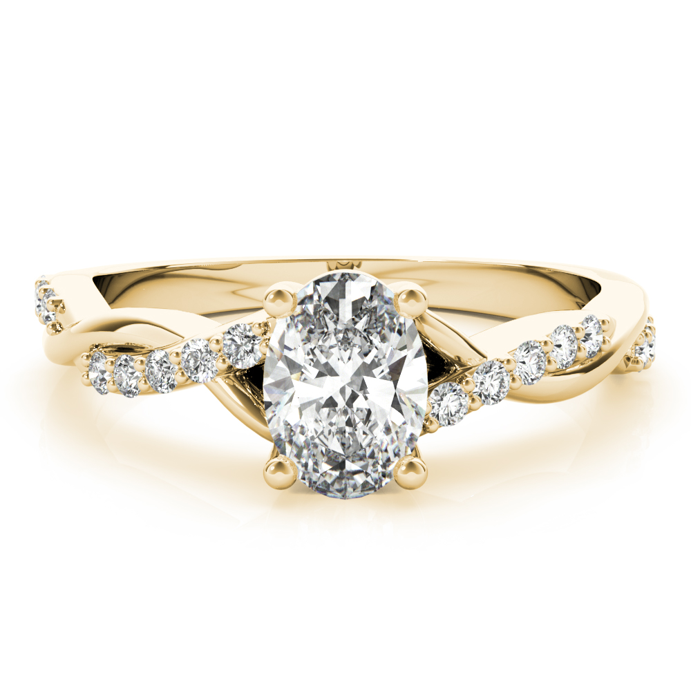 Petite Infinity Oval Diamond Engagement Ring Yellow Gold