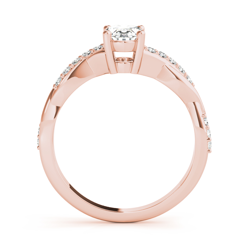 Petite Infinity Oval Diamond Engagement Ring Rose Gold