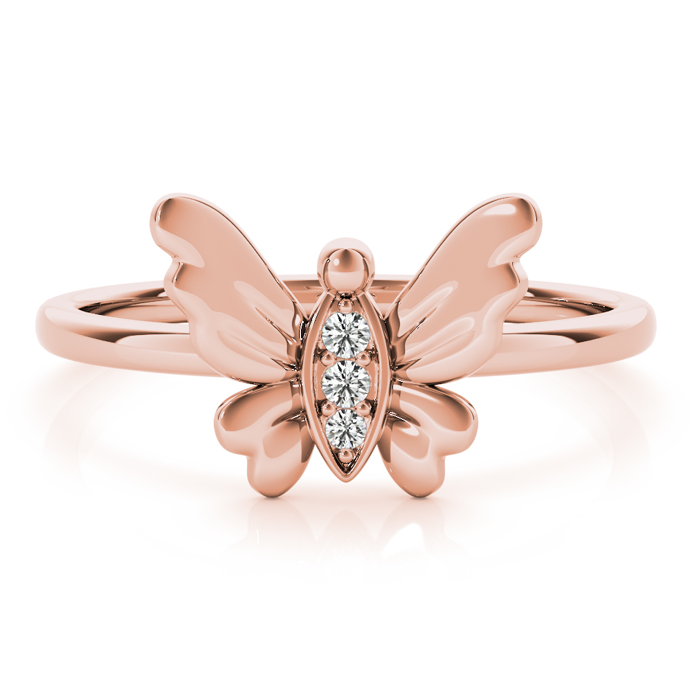 Petite Diamond Butterfly Ring Rose Gold