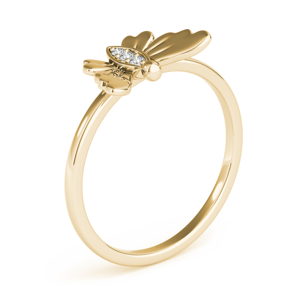 Petite Diamond Butterfly Ring Yellow Gold