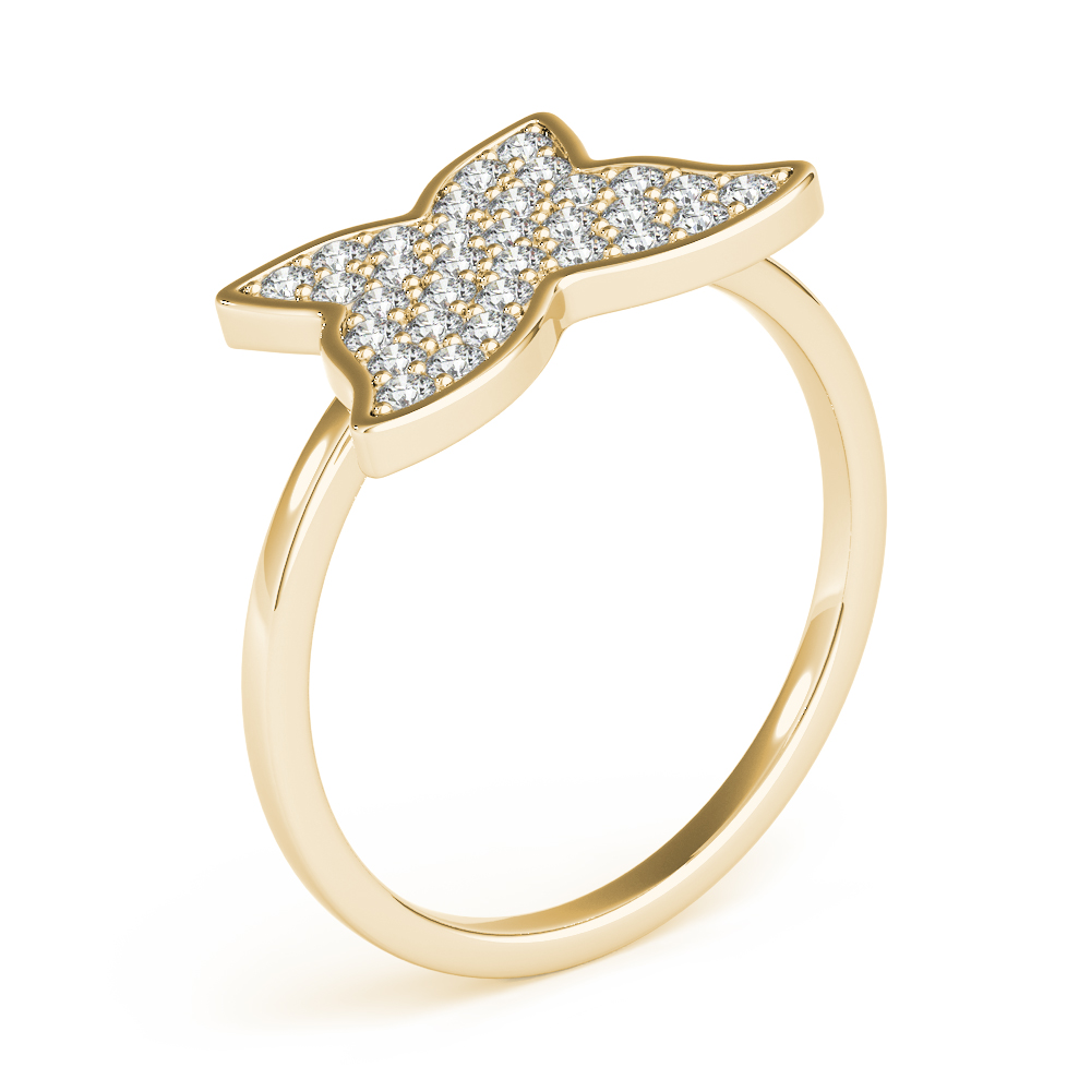 Diamond Cluster Butterfly Ring Yellow Gold