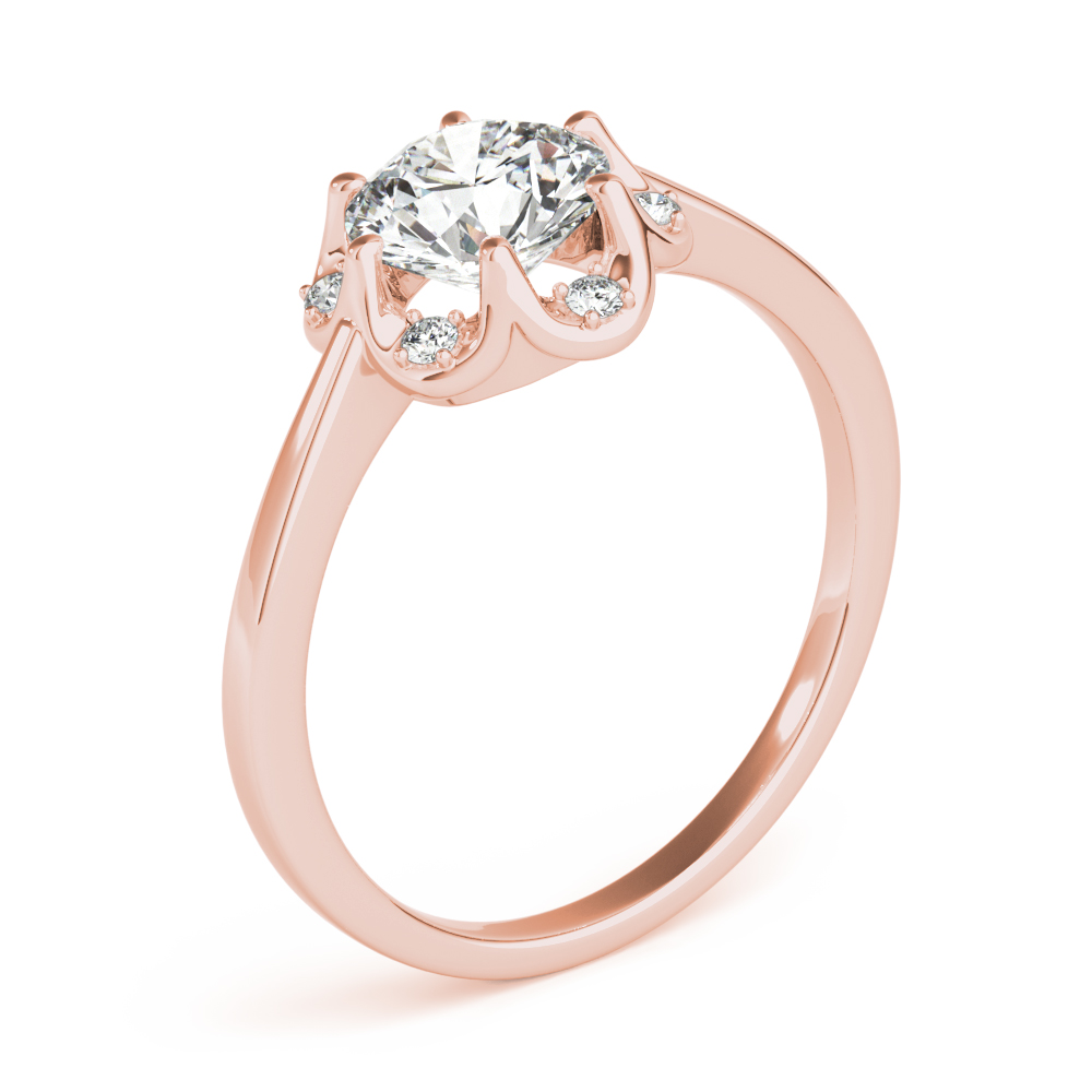 Floral Crown Halo Engagement Ring Rose Gold