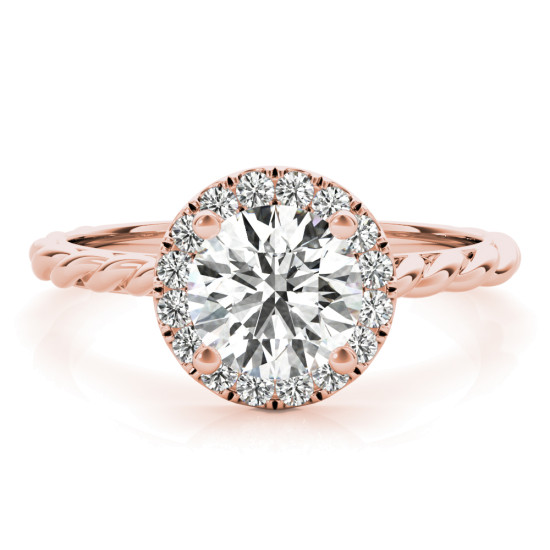 Rope Engagement Ring with Diamond Halo Rose Gold